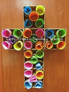 She used wood boxes and Tp rolls + colored paper. Could put verses on paper or prayers as they did. Smaller - 2 papers per roll? Easier storage if want.