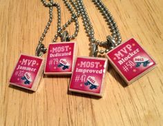 Made with scrabble pieces/custom design Mvp Trophy, Fun Awards, Custom Name Necklace, Roller Derby, Softball, Fundraising, Blankets, Custom Design, Crafty