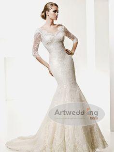 Three quarter lace sleeve mermaid wedding dress | ... /wedding/S/Satin-Lace-Applique-Mermaid-with-34-length-Sleeve-(1).jpg