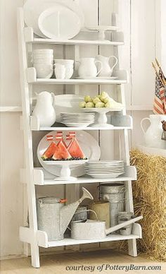 DIY BUDGET DECOR::How to make display shelves out of old ladders