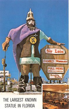 Sir Loin Family Restaurant statue, Front Beach Rd, Panama City Beach, Florida by stevesobczuk Panama City Beach Florida, Old Florida, Vintage Florida, Florida Travel, Panama City Panama, Florida Beaches, Travel Oklahoma, Beach Travel, Bay County