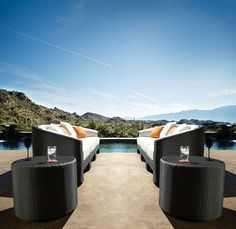 This outdoor seating area by Designer Gallery boasts sweeping mountain views: https://luxesource.com/resources/designer-gallery #luxeSoCal
