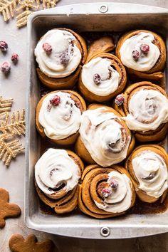 Overnight Gingerbread Cinnamon Rolls | halfbakedharvest.com @landolakesktchn #sponsored
