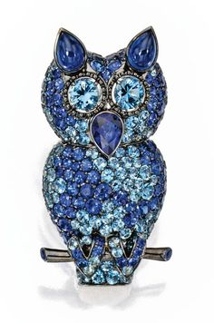 18 Karat White and Blackened Gold, Sapphire and Aquamarine Brooch, Michele della Valle