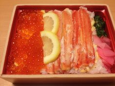 crabs & salmon roe bento for dinner   Taken by iPhone with kitchen lights at night   http://www.from-japan-with-love.com