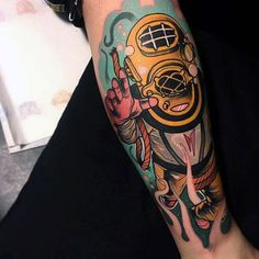 Neo Traditional Awesome Deep Sea Diver Forearm Sleeve Tattoo For Guys
