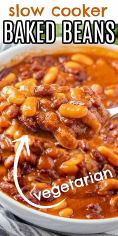 This Vegetarian Baked Beans recipe is cooked with a little bit of a kick added. It's a quick Crock pot dinner because a variety of canned beans are used. By dinner time they are perfection and ready to be served to the whole family. #vegetarianbakedbeans #veganbakedbeans #bakedbeanscrockpot #bakedbeansrecipe #bakedbeansrecipecrockpot #easybakedbeansrecipe Baked Beans Crock Pot, Easy Baked Beans, Slow Cooker Baked Beans, Baked Bean Recipes, Recipes With Canned Beans, Vegetarian Baked Beans, Vegetarian Recipes, Vegetarian Barbecue, Healthy Grilling