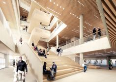 Image 1 of 6 from gallery of schmidt hammer lassen Reveal Chirstchurch's New Central Library. Photograph by schmidt hammer lassen architects New Zealand Architecture, Timber Architecture, Library Architecture, Cultural Architecture, Architecture Details, Public Architecture, Chinese Architecture, Accor Hotel, Atrium Design