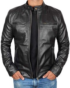 371ce762e9 Black Leather Motorcycle Jacket Men