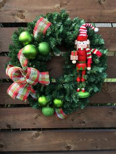Nutcracker Elf holiday wreath * Ships free shipping by AnnesAdoorables on Etsy
