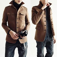 New Fashion Design Man Slim Fit Clothes Warm Winter Jackets Mens Wool Blend Coat | eBay