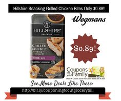 Wegmans Coupon Deal: Hillshire Snacking Grilled Chicken Bites Only $0.89 - http://www.couponsforyourfamily.com/wegmans-coupon-deal-hillshire-snacking-grilled-chicken-bites-only-0-89/