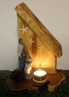 Weihnachtskrippe+auf+Baumscheibe+von+Geschenke+und+Mehr+auf+DaWanda.com