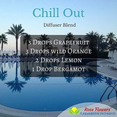 Take a load off and just chill out with this wonderful diffuser blend. The combination of citrus oils will lift you up while helping you to relax and unwind. #essentialoils #diffuserblend