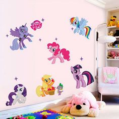 """Girl's favorite animation character, My Little Pony is ready to enchant her room! - Handmade item - Materials: High Quality Vinyl - Made to order - 41"""" width 23"""" height / 104 cm width 60 cm height ~AB"""