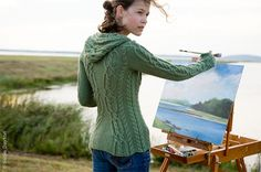 Awesome hooded sweater - knitting pattern. (Because I always wear my hand-knits while painting out by the lake. :o/  )