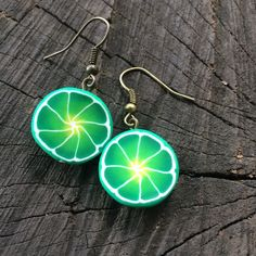 Green lime slice earrings / summer earrings / summer by DRISAIN