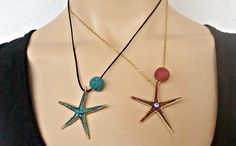 Starfish Necklace Lava Turquoise Red Aromatherapy Pendant Essential Oil Diffuser Brass Enamel Boho Beach Mom Necklace, Greek Islands, EGST, Starfish Necklace, Arrow Necklace, Beach Mom, Diffuser Necklace, Hippie Jewelry, Greek Islands, Essential Oil Diffuser, Necklace Lengths, Aromatherapy