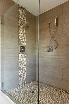I would replace the pebbles with blue glass tile to give a waterfall feel but I love the other tile
