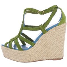 Pre-owned Herm?s Espadrille Wedge Sandals ($345) ❤ liked on Polyvore featuring shoes, sandals, green, wedge heel sandals, platform espadrille sandals, espadrille wedge sandals, wedge shoes and platform sandals