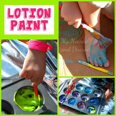 sensory painting with lotion paint