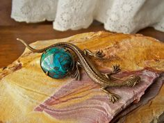 Vintage Turquoise Brooch Lizard Signed Turquoise by cynthiasattic, $49.00