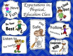 Education Expectations: Back To School This poster shows your students what you expect from them in class.This poster shows your students what you expect from them in class. Physical Education Rules, Physical Activities For Kids, Pe Activities, Sports Bulletin Boards, Sports Theme Classroom, Classroom Ideas, Pe Lesson Plans, Elementary Pe, Pe Lessons