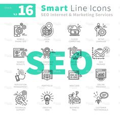 Smart Line Icons SEO Internet and Marketing Service V.2