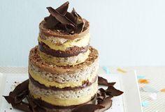 Banana cake with banana cream, hazelnut crunch, chocolate hazelnut ganache and hazelnut frosting fillings.