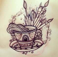 Neo traditional tattoo flash teacup & paint brushes - good basic concept to be added to a more complex design