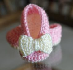 Crochet Baby Booties - Baby Girl Booties -  Ballet Slippers - Bow Shoes - Newborn to 3-6 mos sizes. on Etsy, $14.47