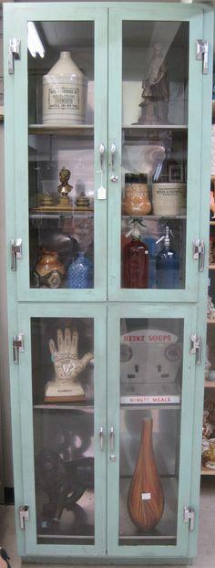 turquoise vintage medical cabinet  www.antiqueavenue.ca