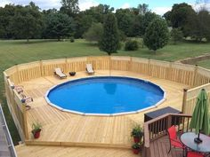15 Awesome Above Ground Pool Deck Designs Above Ground Swimming Pools, Swimming Pools Backyard, Swimming Pool Designs, In Ground Pools, Indoor Pools, Above Ground Pool Inground, My Pool, Semi Inground Pool Deck, Outdoor Pool