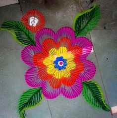 flower rangoli designs for diwali with leaves. Rangoli Designs For Competition, Colorful Rangoli Designs, Rangoli Designs Images, Rangoli Designs Diwali, Diwali Rangoli, Beautiful Rangoli Designs, Diwali Craft, Rangoli Colours, Rangoli Patterns