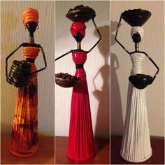 African statue/dolls of rolled recycled paper tubes. Creative Crafts, Fun Crafts, Arts And Crafts, Paper Dolls, Art Dolls, Batman Gifts, Paper Mache Clay, African Dolls, African Crafts