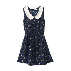 Deer Print Sleeveless Navy Blue Dress ($35) ❤ liked on Polyvore featuring dresses, vestidos, robes, romwe, navy blue chiffon dress, deer print dress, blue chiffon dress, blue sleeveless dress and navy blue sleeveless dress