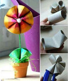 children's craft, recycle, toilet roll, flower, papercraft, tutorial, knutselen, kinderen, basisschool, wc-rol, bloempot
