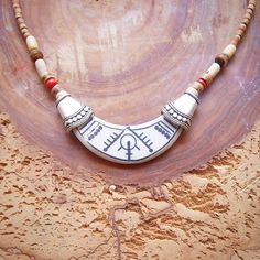 White Tribal Necklace, Porcelain Necklace, Moon necklace, Ethnic jewelry, Clay jewelry, Traditional jewelry, Artisan, Witch jewelry, Gift