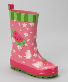 Take a look at this Pink Watermelon Rain Boot by Stephen Joseph on #zulily today!