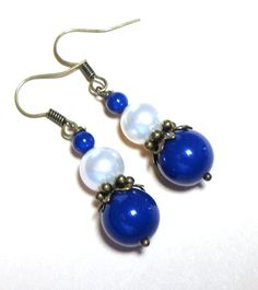 Jewelry Earrings Dark Lapis Blue and White Gem by SpiritCatDesigns, $7.00