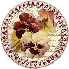 Autumn's Crowning Glory ~ pansy circular graphic or tag