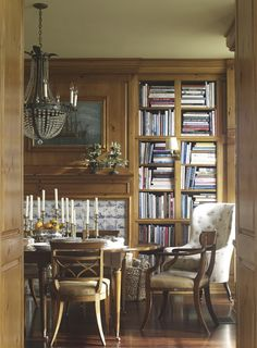 I LOVE LOVE LOVE books/shelves in a dining room.  Changes the entire experience!        Suzanne Rheinstein