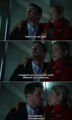 "One of my favorite moments from ""Arrow"" on the CW. Oliver Queen and Felicity Smoak interact closer than they ever have before."