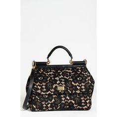 Dolce 'Miss Sicily' Leather & Lace Satchel ($2,425) found on Polyvore