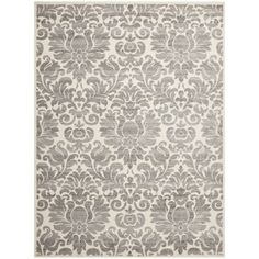 Porcello Damask Ivory/ Grey Rug (6'7 x 9'6) would love this in a bedroom with a victorian cream bed with some distressing and a light pink velvet accent fabric.