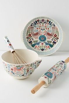 Explore Anthropologie's unique tabletop featuring kitchen & dining collections, dinner collections, serveware, kitchen accessories and more. Cute Kitchen, Kitchen Decor, Kitchen Dining, Ceramic Painting, Ceramic Art, Decorative Accessories, Home Accessories, Keramik Design, Pottery Painting Designs