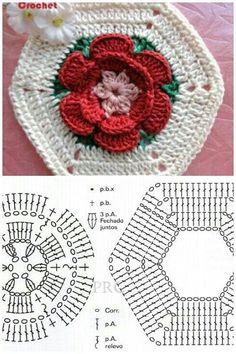46 Ideas Crochet Granny Square Hexagon For 2019 Crochet Motifs, Granny Square Crochet Pattern, Crochet Flower Patterns, Crochet Diagram, Crochet Stitches Patterns, Crochet Chart, Crochet Squares, Diy Crochet, Crochet Designs