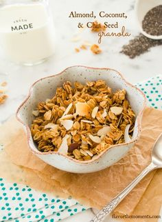 Almond Coconut Chia Seed Granola is hearty & toasty with rolled oats ...