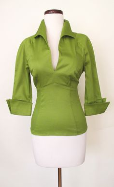 1950's Lauren Bacall Blouse Moss Green