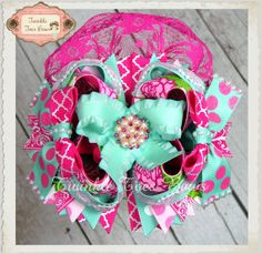 Sweet Peony Stacked Boutique Over the Top Hair Bow on Etsy, $16.00